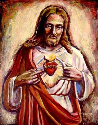 Immaculate Heart Painting - Sacred Heart by Sheila Diemert