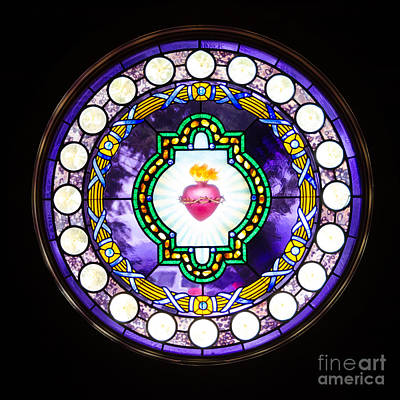 Photograph - Sacred Heart Stained Glass by Debra Martz