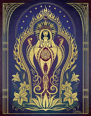 Lily Digital Art - Sacred Mother - Global Goddess Series by Cristina McAllister