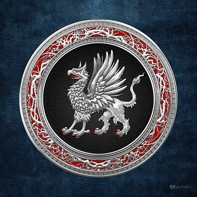 Digital Art - Sacred Silver Griffin On Blue Leather by Serge Averbukh