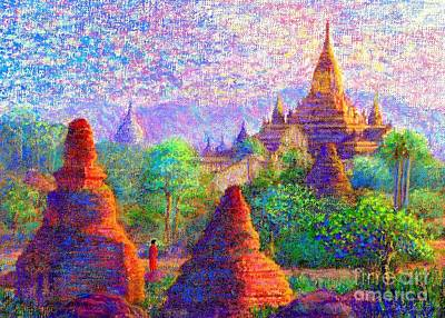 Mystical Landscape Painting - Bagan, Burma, Sacred Spires by Jane Small