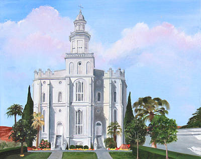 Painting - Sacred Steps St George Lds Temple by Nila Jane Autry