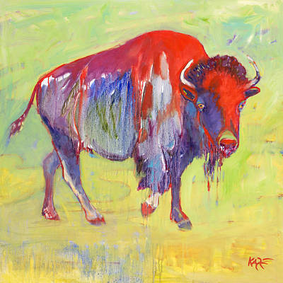 Bison Wall Art - Painting - Sacred Warrior by Kate Dardine