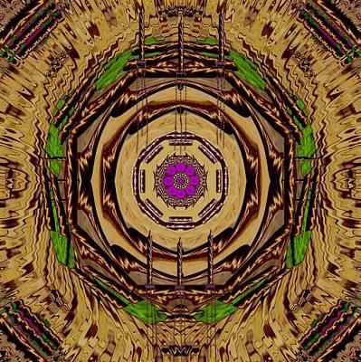 Sacred Wodden Floral Mandala Temple Art Print