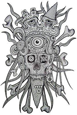 Mayan Drawing - Sacreficial Skull by Alex Amezola