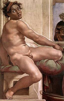 Sacrifice Of Noah - Ignudo Detail Art Print by Michelangelo Buonarroti