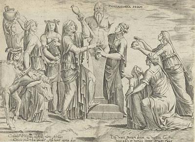 Bos Bos Drawing - Sacrifice To Priapus, Cornelis Bos, Lambert Lombard by Cornelis Bos And Lambert Lombard