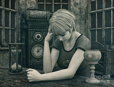 Digital Art - Sad And Alone by Jutta Maria Pusl