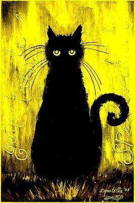 Donatella Mixed Media - Sad And Ruffled Cat Gold Version by Donatella Muggianu