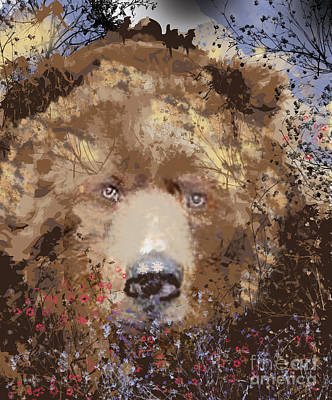 Abstract Realism Digital Art - Sad Brown Bear by Kim Prowse