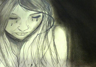 Tears Drawing - Sad Girl Sketch by Kathleen Odenthal