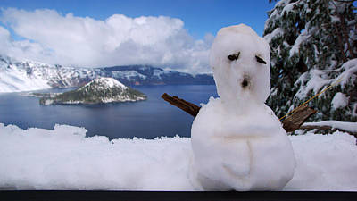 Photograph - Sad Little Snowman At Crater Lake by Daniel Woodrum