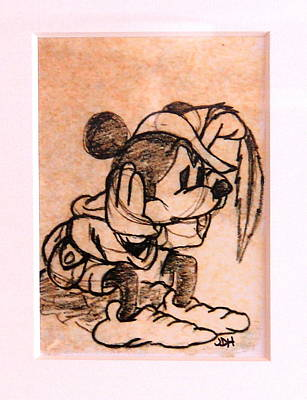 Art Print featuring the drawing Sad Mickey by Joseph Hawkins