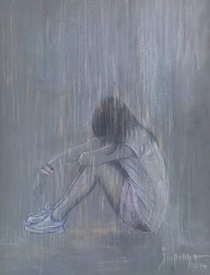 Rain Drawing - Sad Rain by Jovica Kostic
