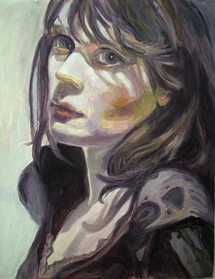 Zooey Deschanel Wall Art - Painting - Sad Zooey by May Lively