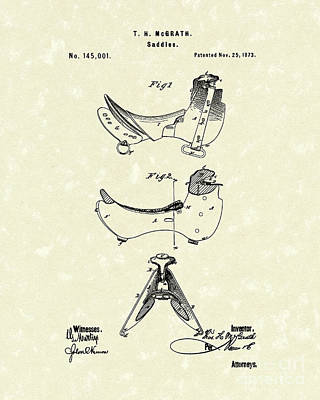 Drawing - Saddle 1873 Patent Art by Prior Art Design