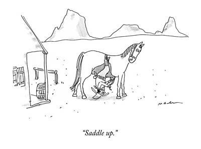Saddle Drawing - Saddle Up by Michael Maslin