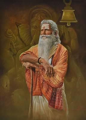 Sadhu And Ganesha Original by Kamal  Rao