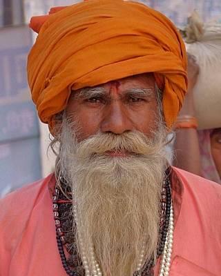 Photograph - Sadhu With Turban - Kumbhla Mela - Allahabad India by Kim Bemis