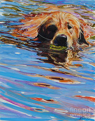 Water Retrieve Painting - Sadie Has A Ball by Molly Poole
