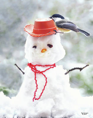 Photograph - Sadies Snowman by Peg Runyan