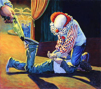 Cop Painting - Sadistic Clowns by Mike Walrath