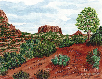 Sadona Two Mountains Art Print by Val Miller