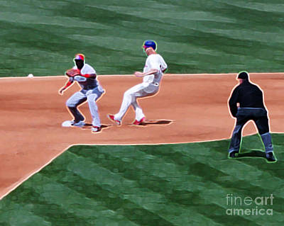 Safe At Second Base Art Print by Terry Weaver
