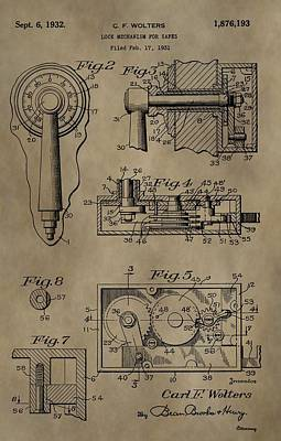 Mechanisms Mixed Media - Safe Lock Patent by Dan Sproul