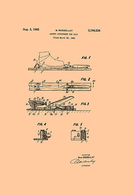 Safety Device Patent For Skis Art Print by Mountain Dreams