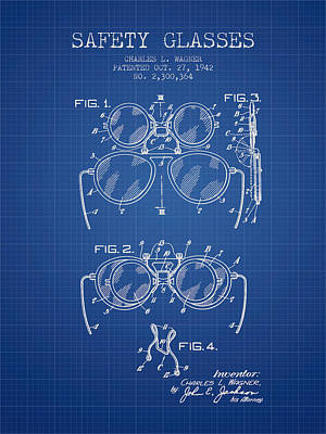 Glass Wall Digital Art - Safety Glasses Patent From 1942 - Blueprint by Aged Pixel