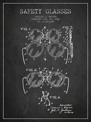 Glass Wall Digital Art - Safety Glasses Patent From 1942 - Dark by Aged Pixel