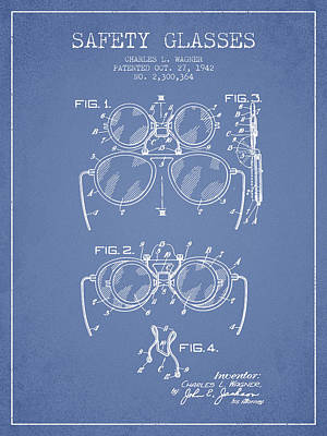 Glass Wall Digital Art - Safety Glasses Patent From 1942 - Light Blue by Aged Pixel