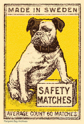 Artful And Whimsical Digital Art - Safety Matches Made In Sweden Average Count 60 Matches by Pierpont Bay Archives