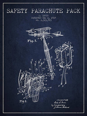Skydiving Digital Art - Safety Parachute Patent From 1919 - Navy Blue by Aged Pixel