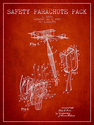 Skydiving Digital Art - Safety Parachute Patent From 1919 - Red by Aged Pixel