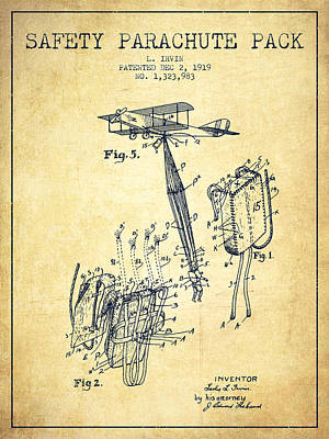 Safety Parachute Patent From 1919 - Vintage Art Print by Aged Pixel
