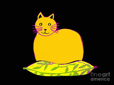 Drawing - Saffron Cat On Black by Barbara Moignard