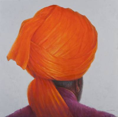 Earrings Photograph - Saffron Turban, 2014 Oil On Canvas by Lincoln Seligman