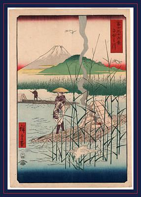 Heron Drawing - Sagamigawa, Sagami River. Tokyo  Tsuta-ya Kichizo by Utagawa Hiroshige Also And? Hiroshige (1797-1858), Japanese