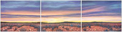 Pastel - Sagebrush Sunset Triptych by Michael Heikkinen