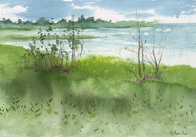 Print featuring the painting Saginaw Bay 7-26-13 by Sean Seal