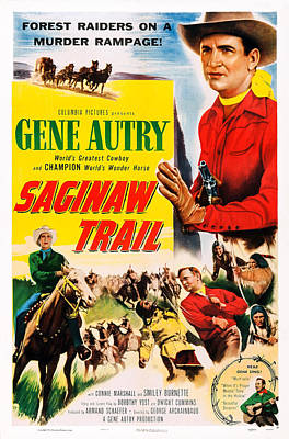 Horse And Wagon Photograph - Saginaw Trail, Us Poster, Gene Autry by Everett