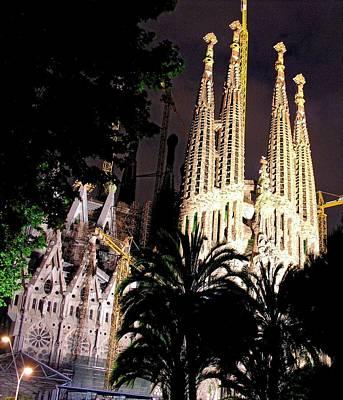 Photograph - Sagrada Familia Night Scene by Jacqueline M Lewis