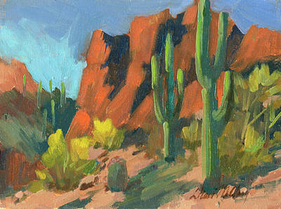 Saguaro Cactus 1 Print by Diane McClary