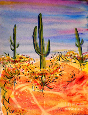 Painting - Saguaro Cactus Desert Landscape by M c Sturman