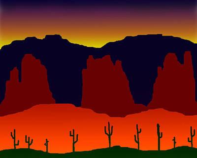 Digital Art - Saguaro Desert by Timothy Bulone