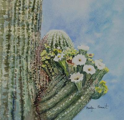 Painting - Saguaro In Bloom by Marilyn  Clement