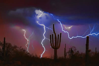 Landscapes Royalty-Free and Rights-Managed Images - Saguaro Lightning Nature Fine Art Photograph by James BO Insogna
