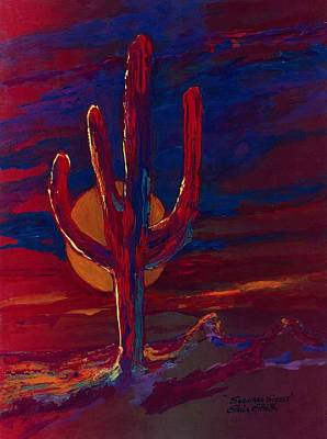 Art Print featuring the painting Saguaro Sizzle by Elaine Elliott